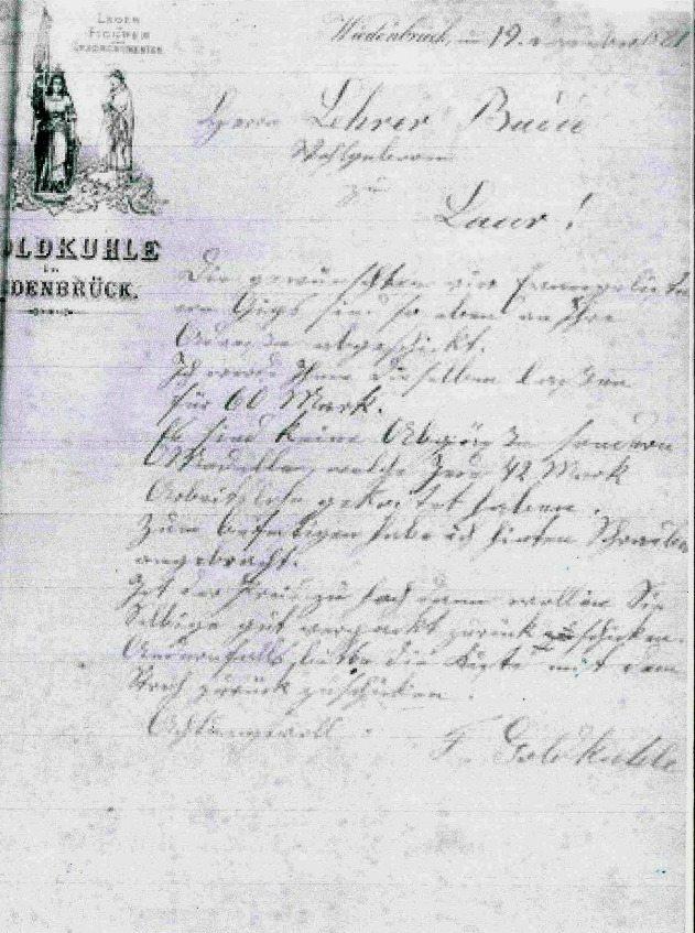 invoice of Franz Goldkuhle