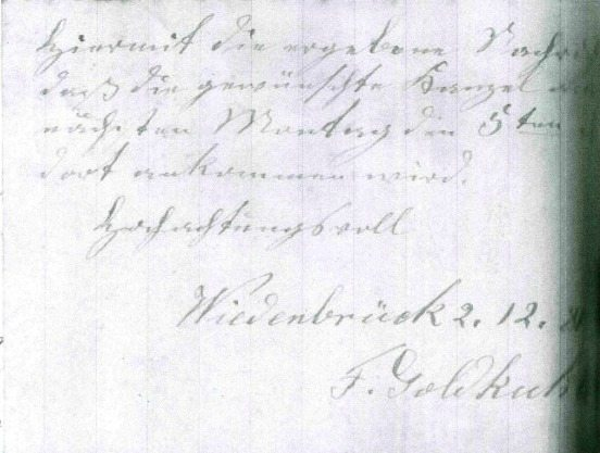invoice of Franz Goldkuhle