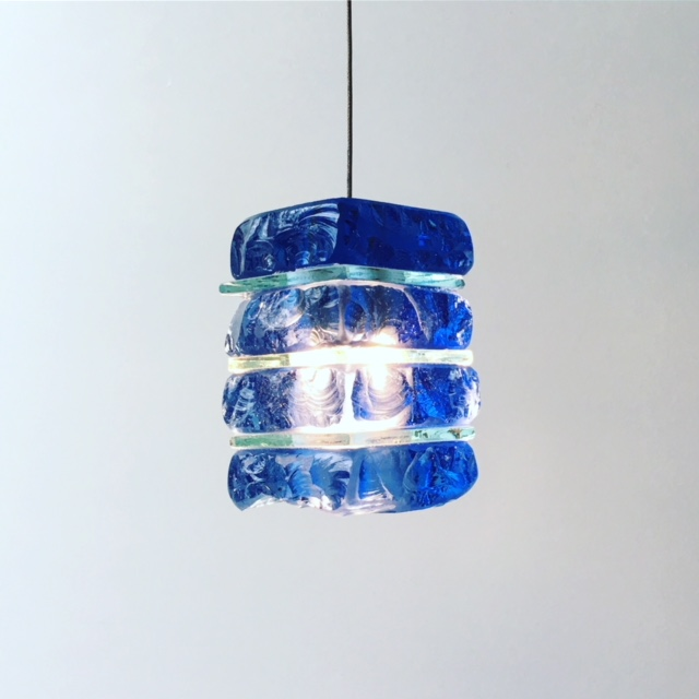 mini blue glass pendant light