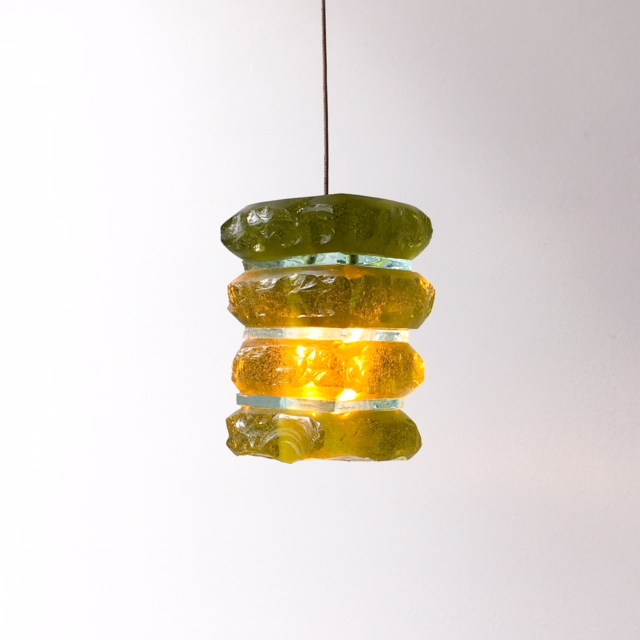 mini green glass pendant light